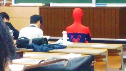 Kid turns up to exam dressed as Spiderman