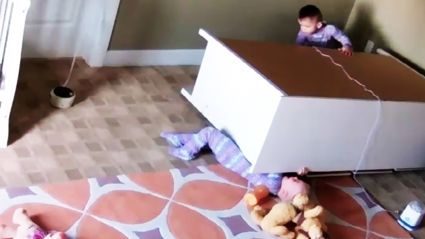 Twin saves his brother's life after furniture collapses on him