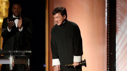 Jackie Chan, surprised by his stunt brothers, is bought to tears after receiving honorary Oscar
