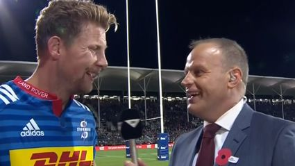 """Sky Sports presenter has hilarious """"drunk"""" moment during halftime interview"""