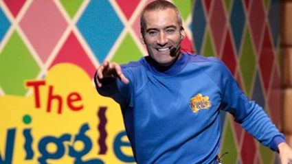 Anthony the blue Wiggle goes topless for a photo shoot