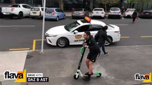 Daz n Ast take each other on in a Lime e-Scooter time trial