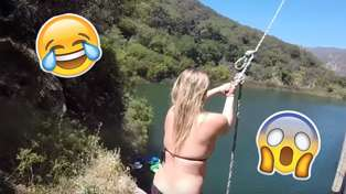 WATCH: Girl Gets Nailed After Leg Gets Caught On Rope Swing